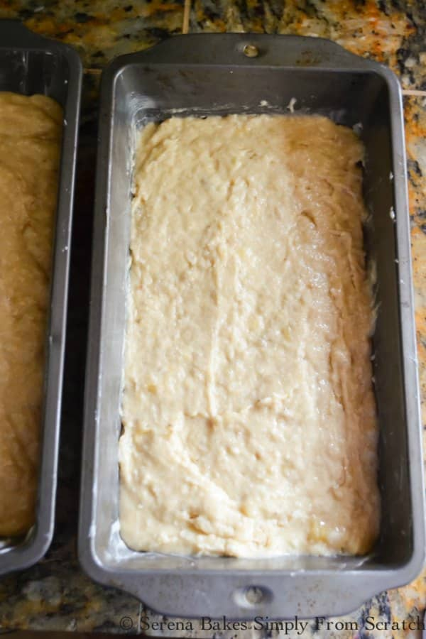 Spread Banana Bread Batter evenly between pan for Banana Bread Coffee Cake.