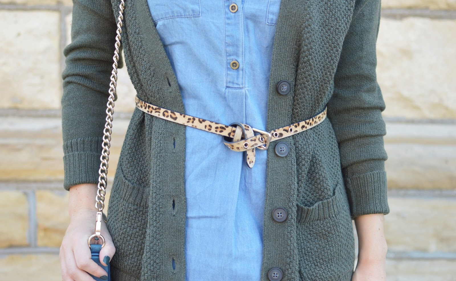 chambray and leopard | leopard belt belted over dress | how to incorporate leopard print into your outfits | a memory of us