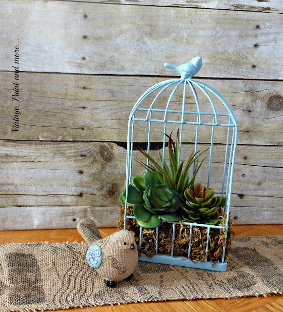 Vintage, Paint and more... rustic wire bird cage upcycled with paint and faux succulents on a budget