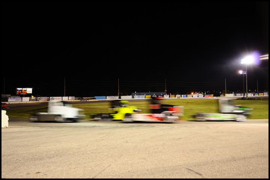 The Bandits whiz by at speeds approaching 100 mph at Hawkeye Downs Speedway on Saturday, July 15, 2017