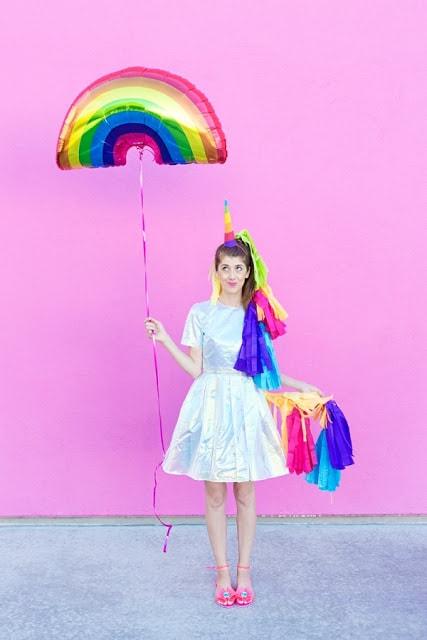 How to make a rainbow unicorn pinata halloween costume