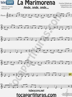 Partitura de La Marimorena para Flauta Travesera, flauta dulce y flauta de pico Villancico Carol Song heet Music for Flute and Recorder Music Scores