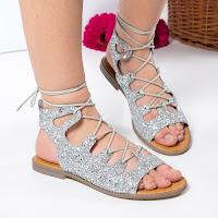 Sandale Birthe argintii cu talpa joasa