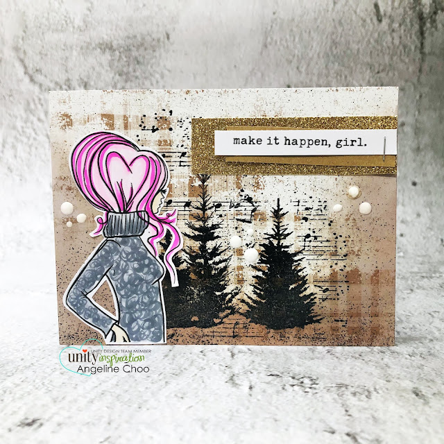 ScrappyScrappy: Unity Stamp Brown Thursday 2019 - Stamping and inking on patterned paper #scrappyscrappy #unitystampco #card #cardmaking #stamping #papercraft #youtube #quicktipvideo #unitystampbrownthursday #brownthursday #makeithappengirl #layersoflife #unitystamplol #unitystamppaper #rusticwinterwishes #gracielliedesign #copicmarkers #christmastrees #copicmarkers #nuvodrops