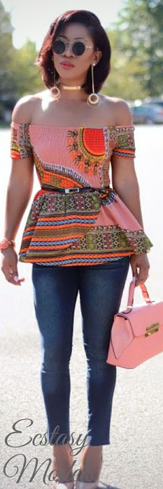 ankara blouse and blue jeans (7)