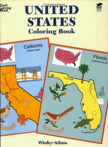 United State Coloring Book by Dover, part of book review list about the United States