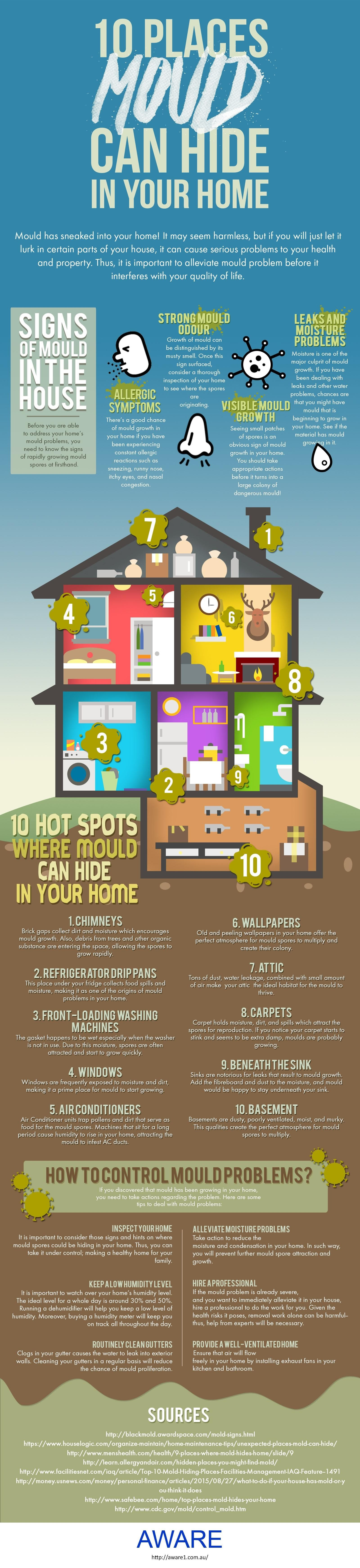 10 Places Mould Can Hide In Your Home #infographic