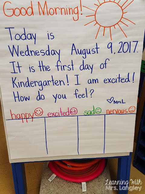 What an actual first day of kindergarten looks like in the classroom! Ideas for first day crafts, organization, and how to introduce rules and procedures. You have your classroom and supplies ready, now plan for your students!