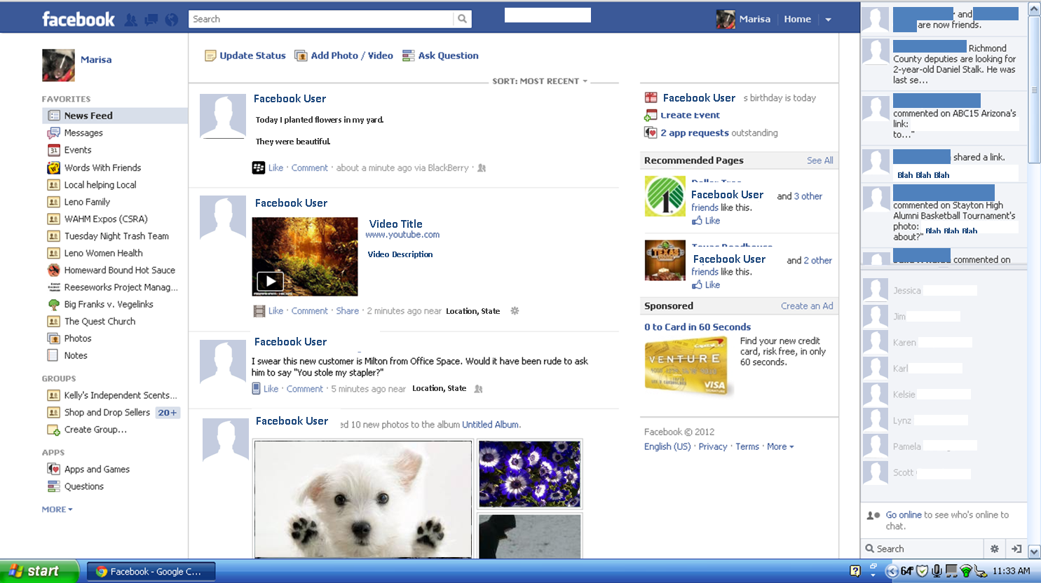 Butterneck Toad: Facebook Explained: Home Screen