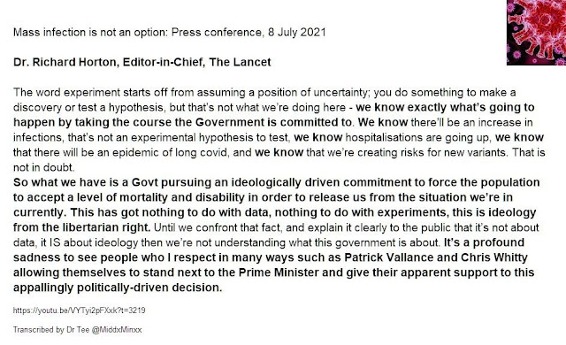 Richard Horton, Editor the Lancet and herd immunity by transmission
