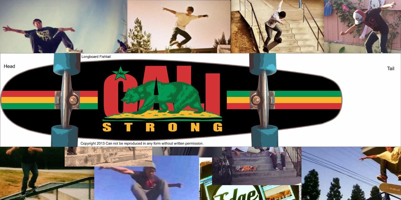 CALI Strong Rasta Skateboard Longboard