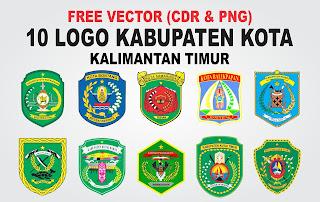 Free Vector Logo 10 Kabupaten Kota Kaltim CDR