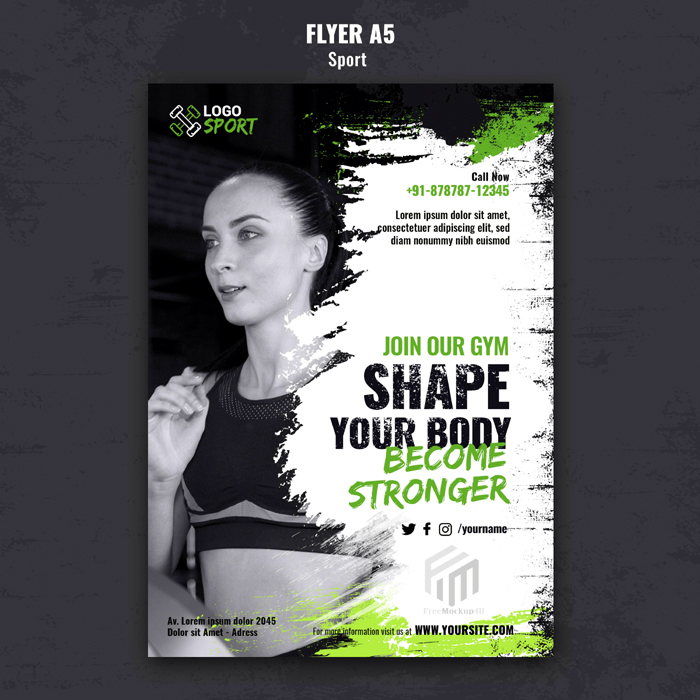 Vertical Flyer Template Exercise Gym Training Psd
