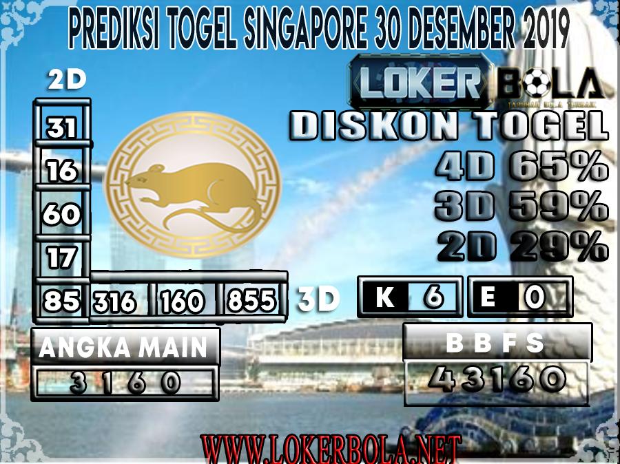 PREDIKSI TOGEL SINGAPORE LOKERBOLA 30 DESEMBER 2019