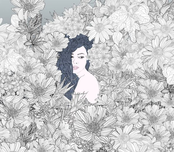 Pedro Tapa ilustrações mulheres cenários detalhados padrões intrincados flores vegetação