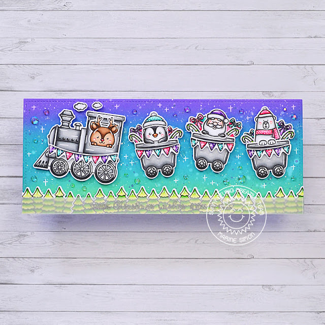 Sunny Studio Stamps: Holiday Express Winter Scenes Balloon Rides Winter Train Themed Christmas Card by Marine Simon