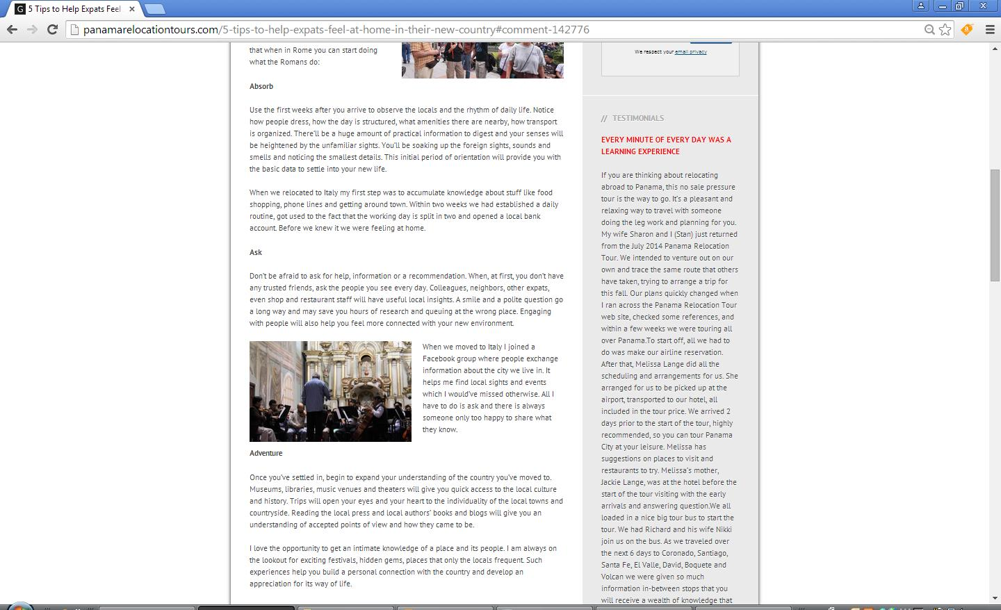 My copied without permission article on the website of the infringing company - 2nd screen