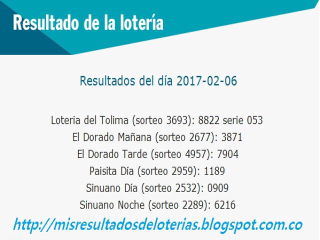 Loterias de Hoy - Resultados diarios de la Lotería y el Chance - Febrero 06 2017