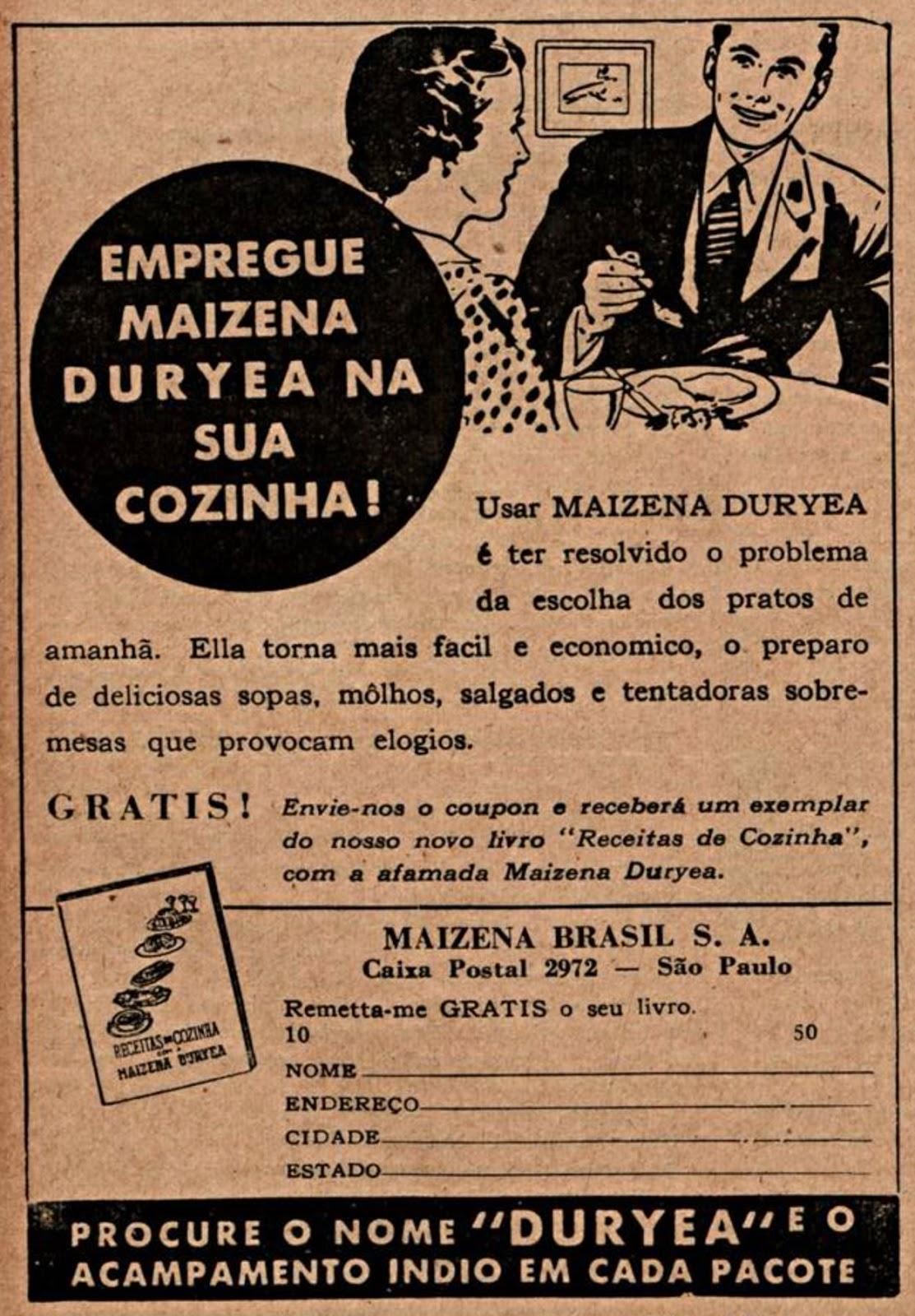 Propaganda antiga da Maizena de 1939 apresentando uma oportunidade de obter livro de receitas