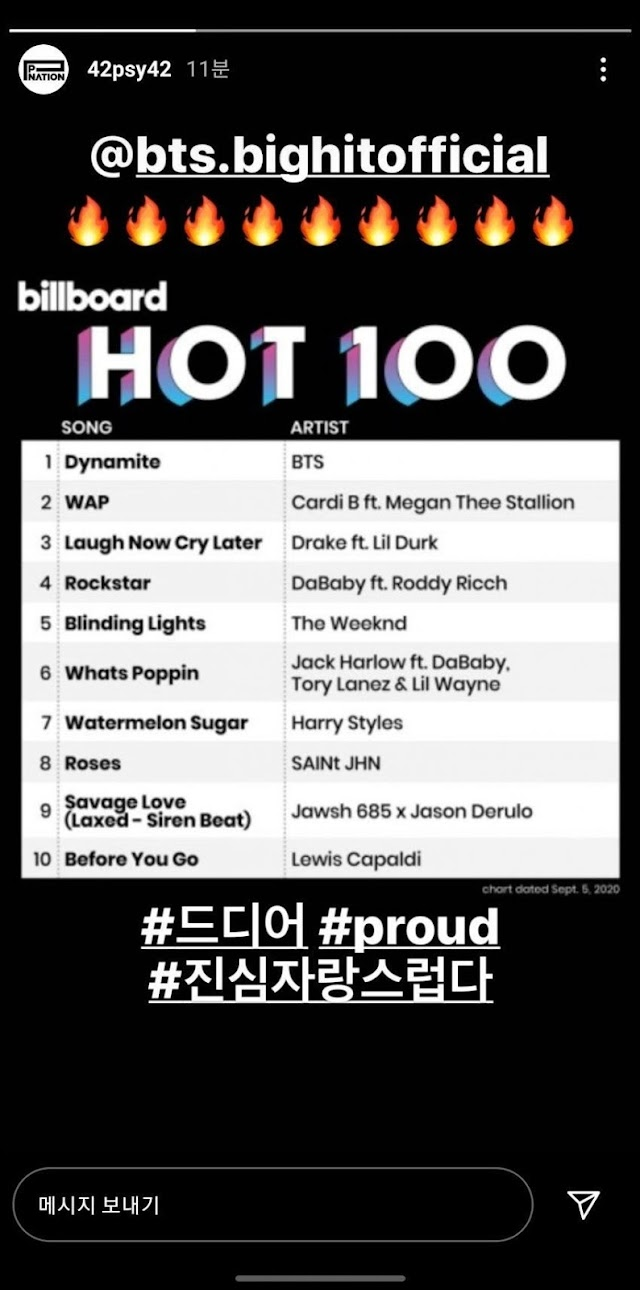 """Singer PSY congratulates BTS for reached the top on the Billboard Hot 100 with """"Dynamite""""!"""