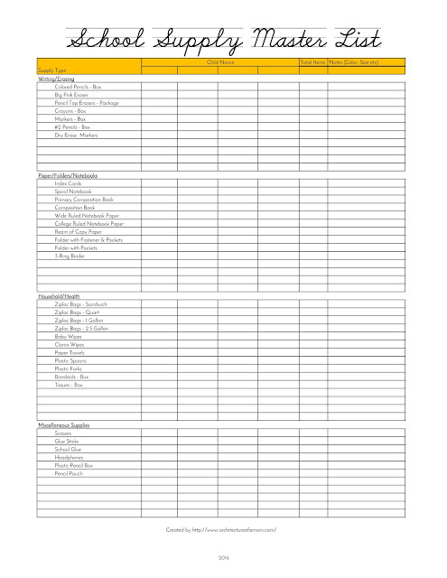 Architecture of a Mom School Supply Master List Printable