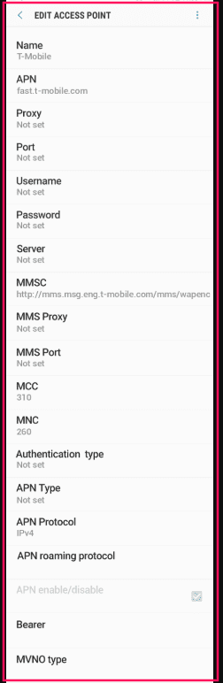 T-Mobile 5g APN Settings
