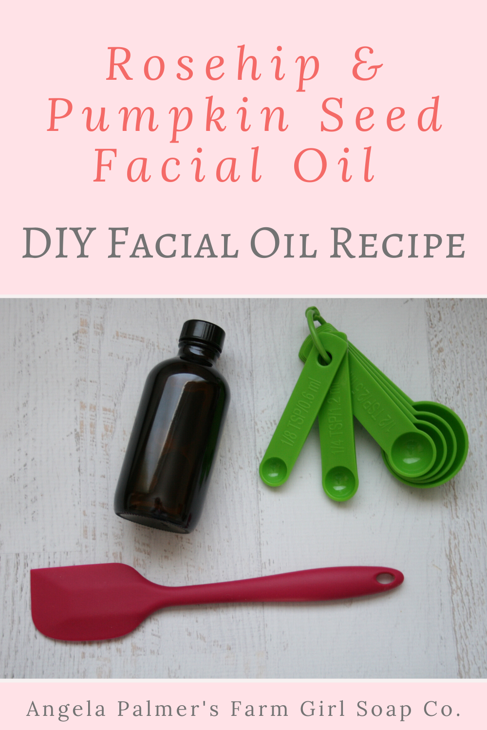 This easy to make DIY facial oil recipe uses anti-aging rosehip and pumpkin seed oil to nourish the skin and give it a dewy glow. Only two simple ingredients and you can make this nourishing DIY facial oil recipe. By Angela Palmer at Farm Girl Soap Co.