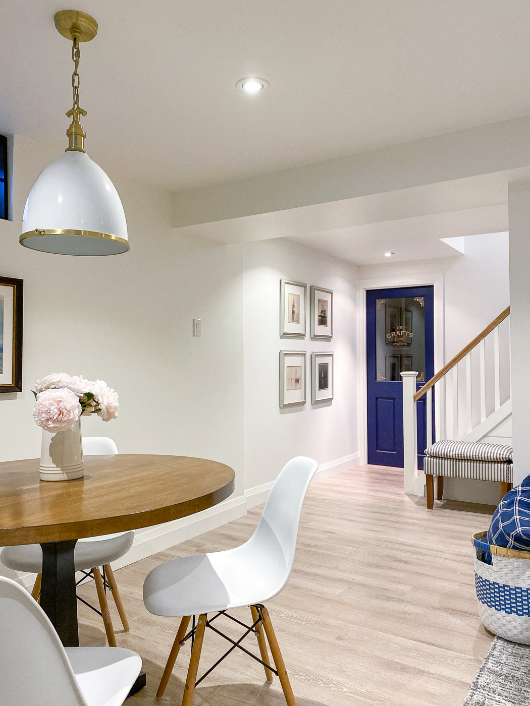 white basement, bright basement, nautical basement, coastal basement