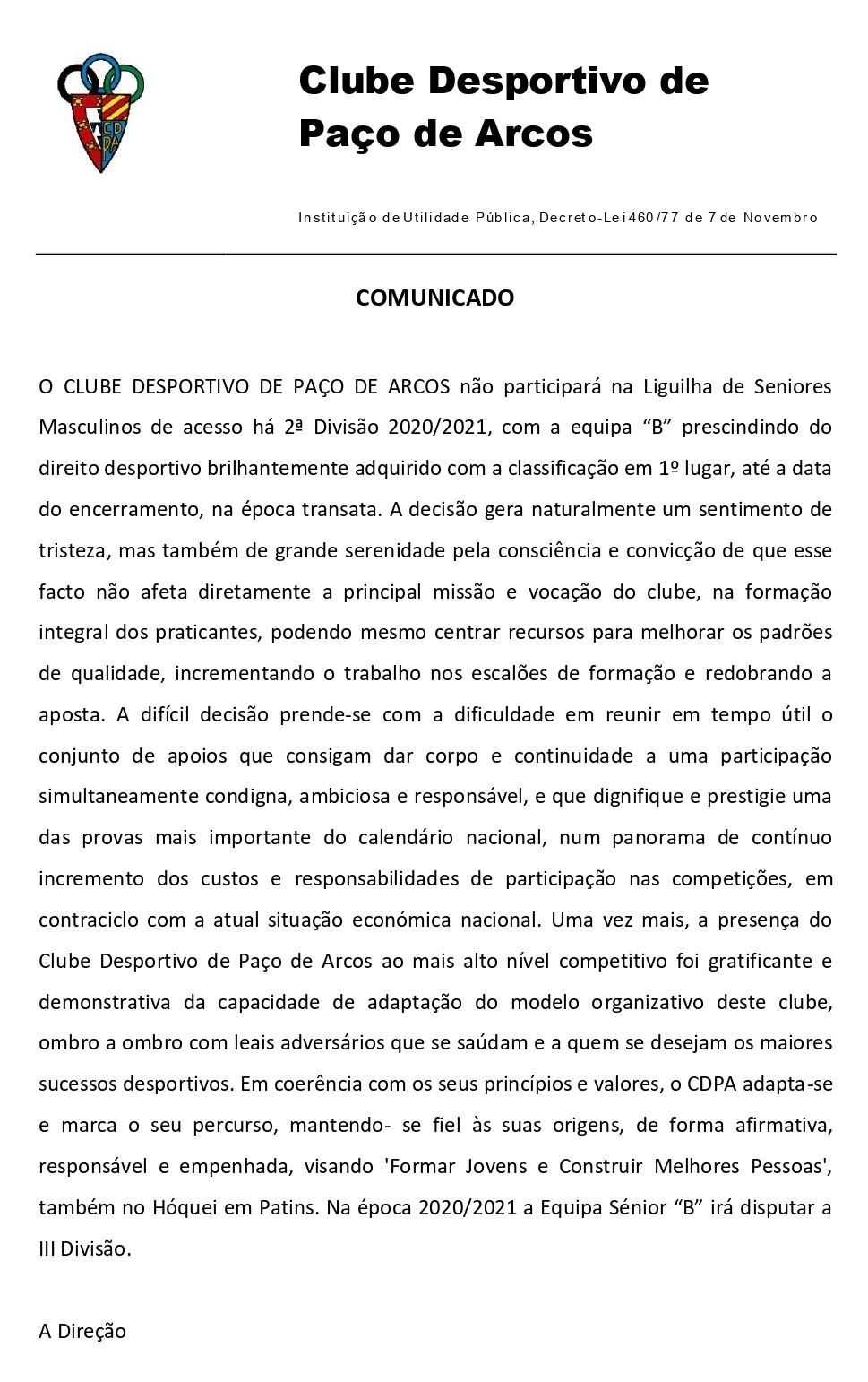 Comunicado - Liguilha de acesso à 2ª Divisão