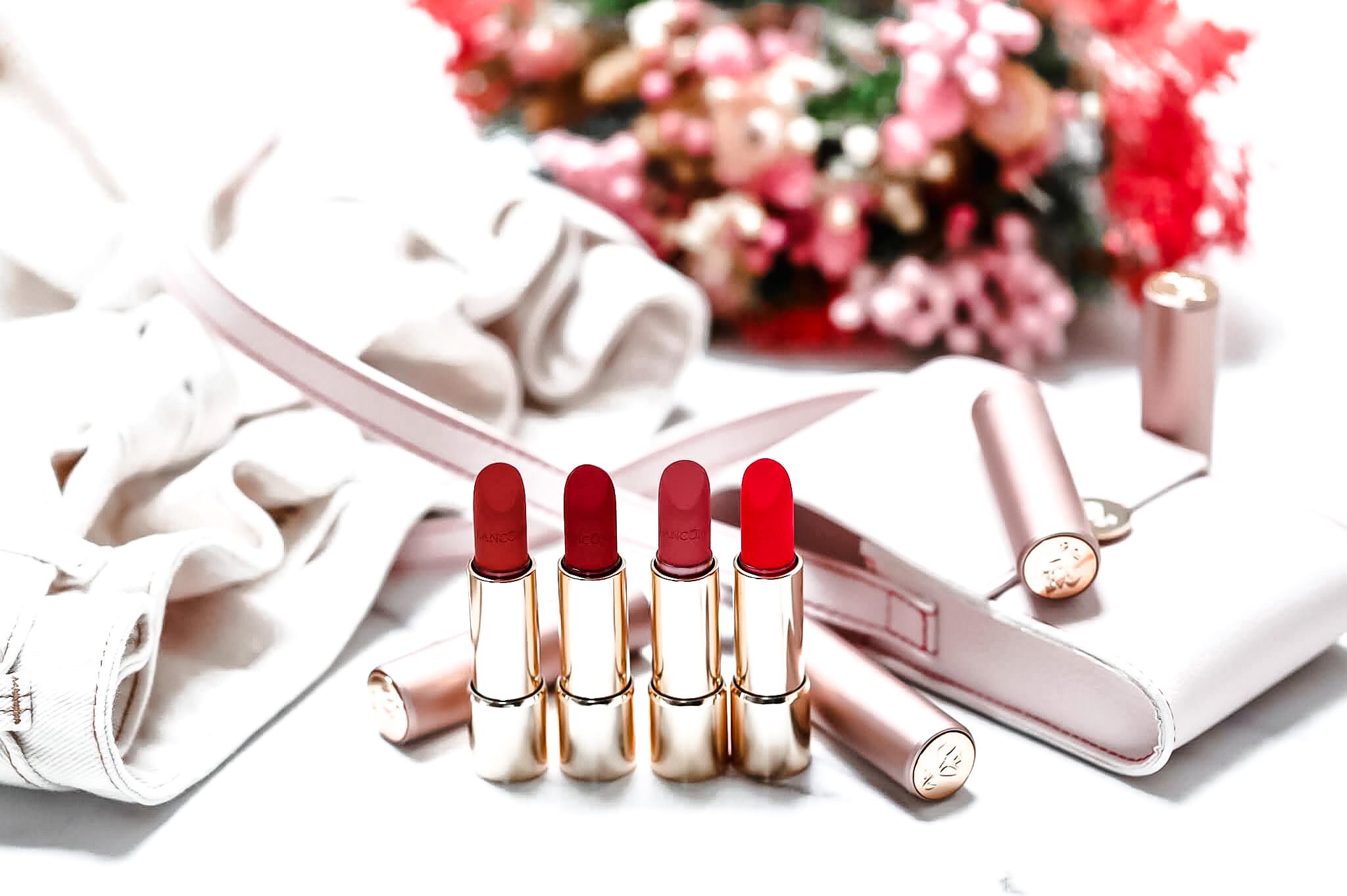 Lancôme Labsolu rouge intimatte 130 not flirting 274 killing-me-softly 196 pleasure firt 169 love rendez vous swatch