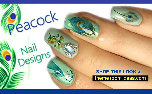 Peacock Feather Leaf Flower Nail Tattoos  - Peacock Nail Art Stickers DIY Manicure Fingernail Decorations