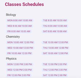 Yakeen Batch Classes Schedule