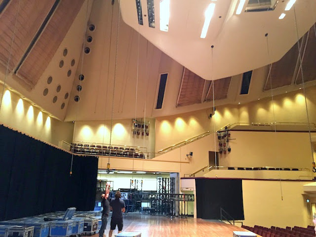 Family Activities in Nottingham | Morgan's Milieu: Men working hard to transform Nottingham Concert Hall into a theatre for The Bodyguard.