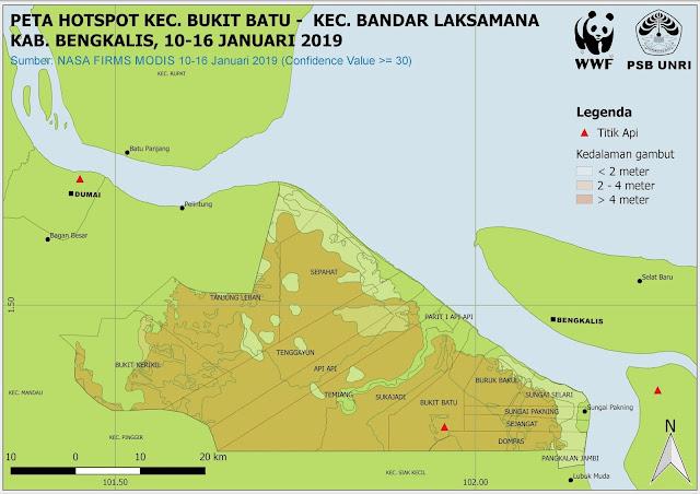 Peta Hotspot Kawasan Bukit Batu-Bandar Laksamana Pada 10-16 Januari 2019