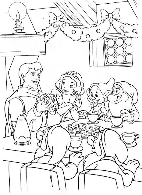 dibujo para colorear Blanca Nieves y príncipe comiendo con los enanitos