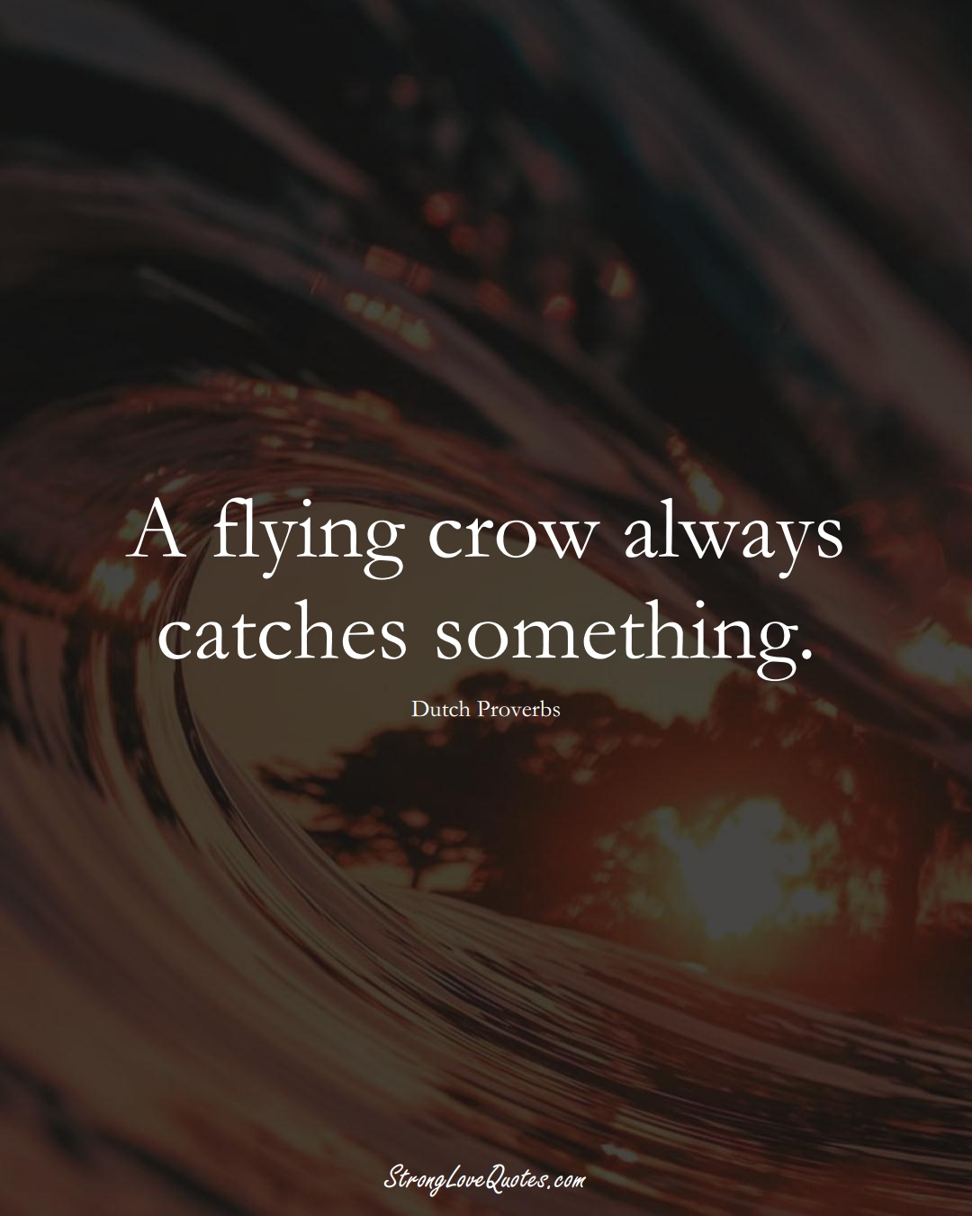 A flying crow always catches something. (Dutch Sayings);  #EuropeanSayings