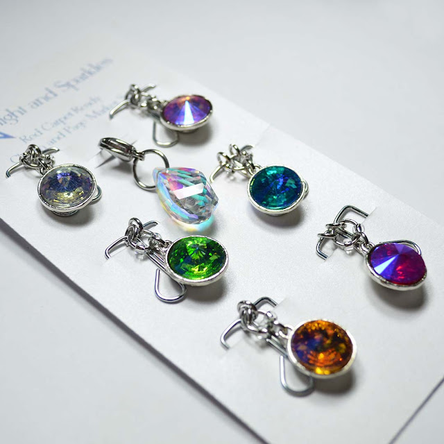 colorful gem page marker set arranged in flat lay