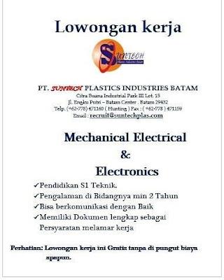 Kerjabatam.com PENGUMUMAN RESMI LOKER PT. Suntech Plastics Industries