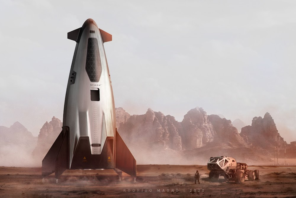 SpaceX orbital shuttle on Mars by Rodrigo Magro