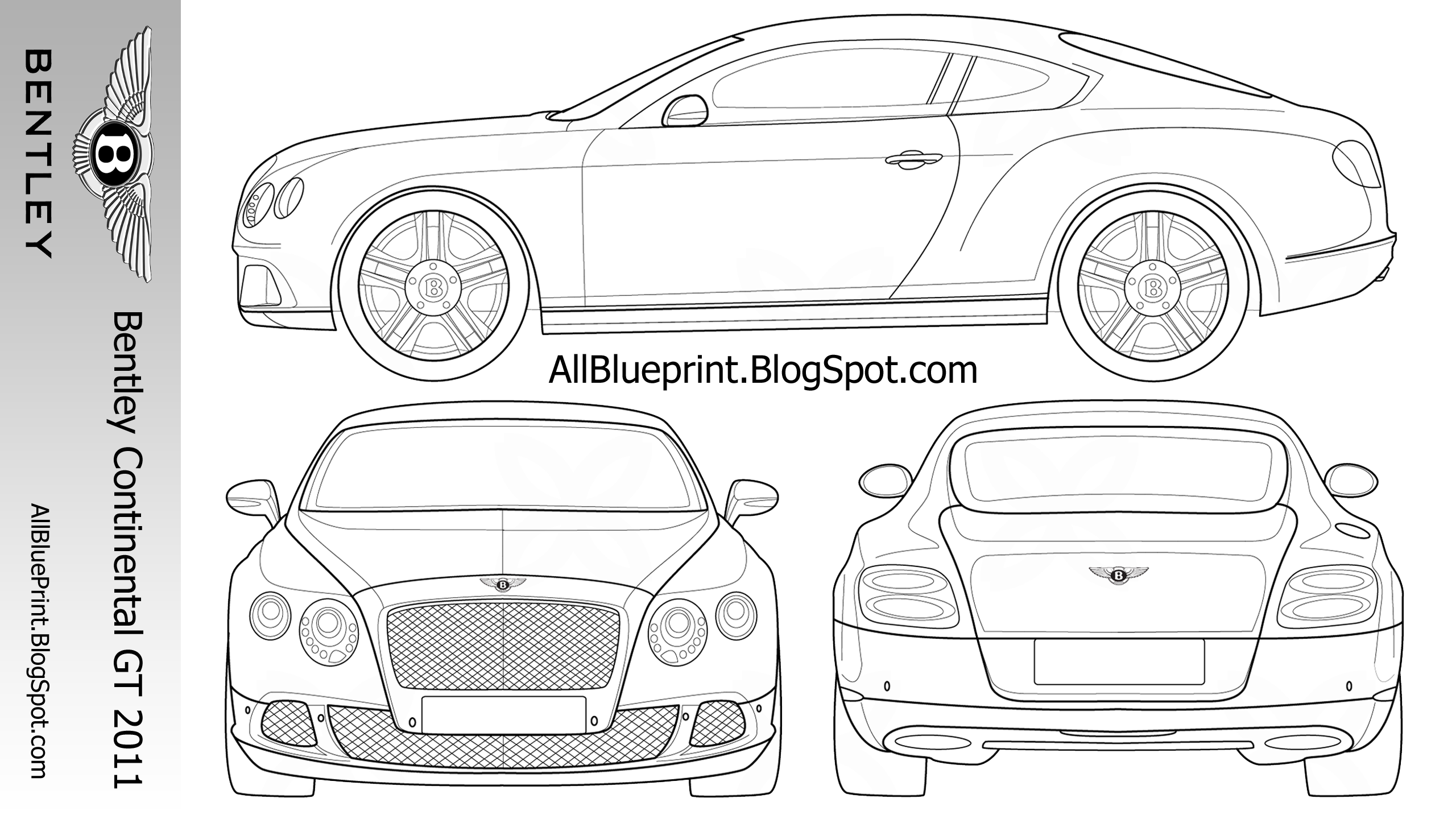 All BluePrint: Bentley Continental GT 2011 2560x1440 Blueprint
