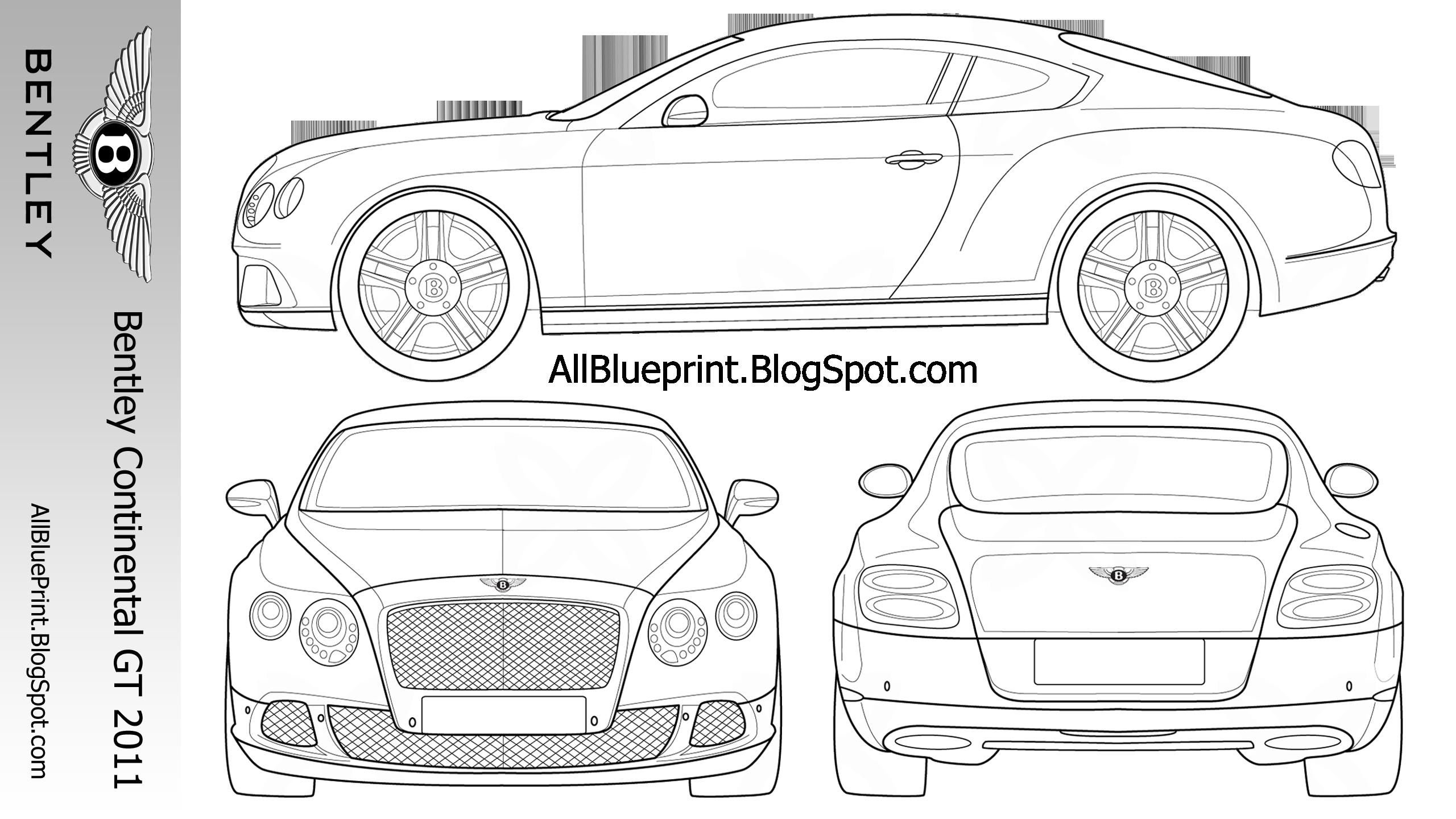 All BluePrint: Bentley Continental GT 2011 2560x1440 Blueprint