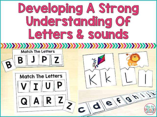 Students need a strong understanding of letters, their forms and the associated sounds. A strong understanding of letters and sounds will help your students develop higher level reading skills.