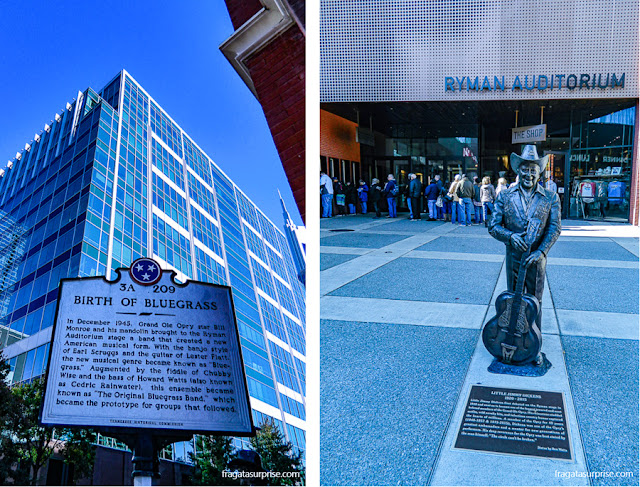 Nashville: placa e estátua lembram a criação do Bluegrass por Bill Monroe no yman Auditorium
