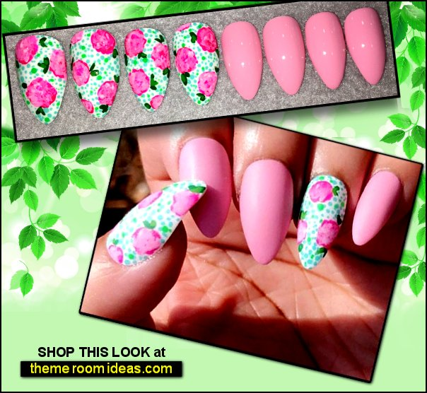 flower nails Pink Fake Nails pink white floral nail designs floral nails false nails flowers