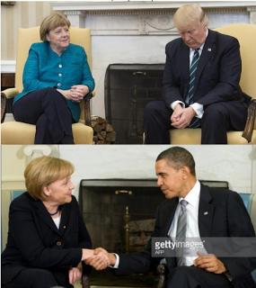 Photos: Merkel with Donald Trump VS Merkel with Obama