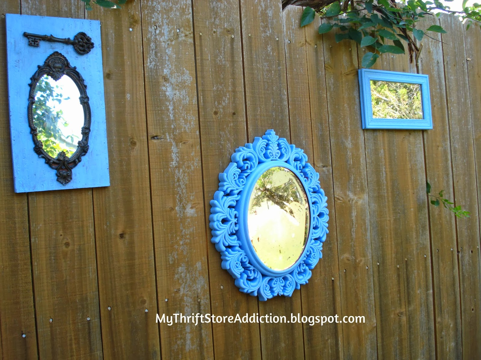 Upcycled garden mirrors