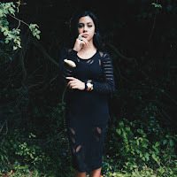 Ana Maddock- From Bali- NA-KD Black Knit Dress