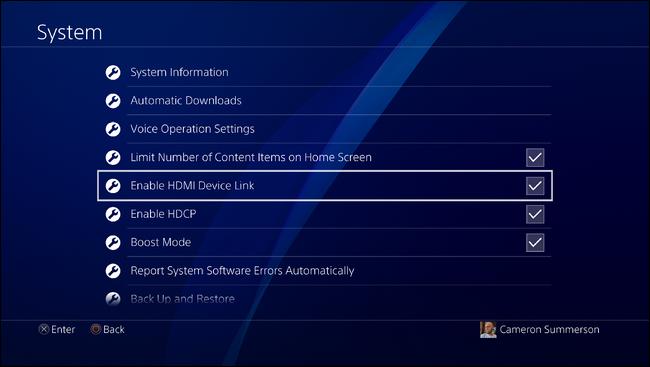 Abilitare collegamento dispositivo HDMI PS4