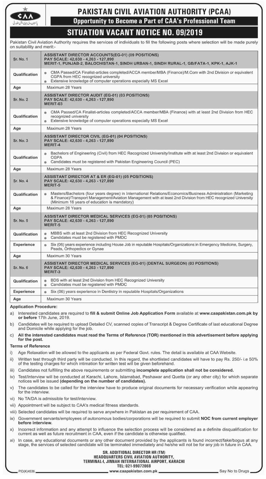 Pakistan Civil Aviation Authority (PCAA), Jobs May 2019