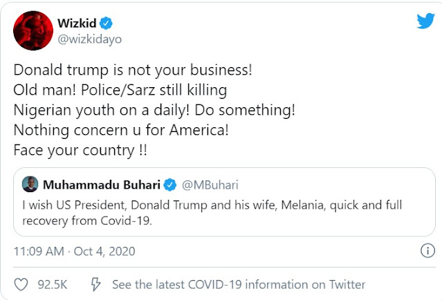 'Trump isn't your business, old man… face your country' — Wizkid slams Buhari in #EndSARS protest